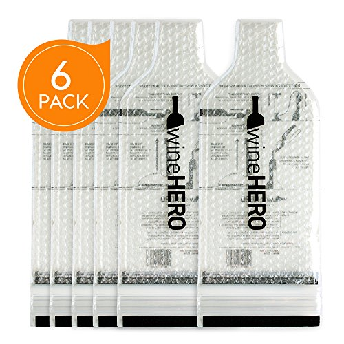 WineHero - 6 Pack Reusable Leak Proof Bottle Protector Bag for Travel Pack in Airplane Checked Baggage, Luggage, or Suitcase - Good for Cruise Travel - Wine Travel Accessory