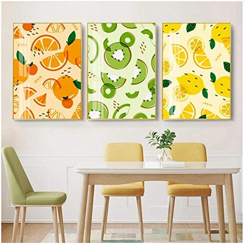 QIAOB Mural de Lienzo, Dibujos Animados Naranja limón Kiwi Frutas Frescas Lienzo Pintura Impresiones Pared Arte decoración Imagen sin Marco