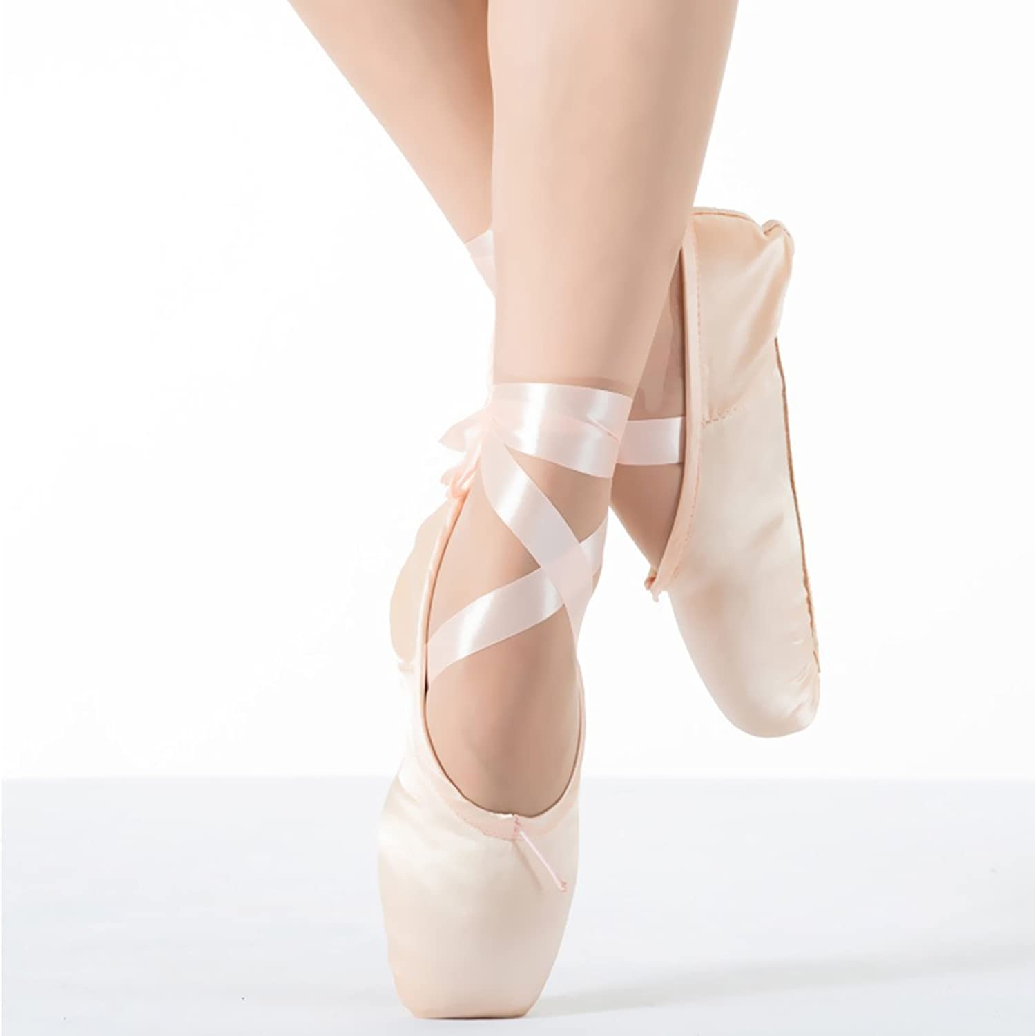 KUKOME New Ballet Dance Toe shoes Professional Ladies Satin Pointe shoes (Pink, EU39 ( Inner Length 250mm=9.84inch))
