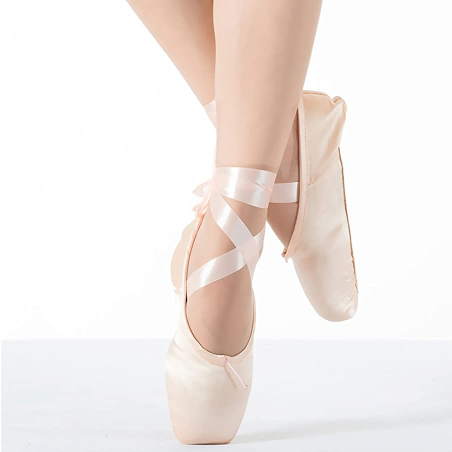 KUKOME New Pink Ballet Dance Toe Shoes Professional Ladies Satin Pointe Shoes