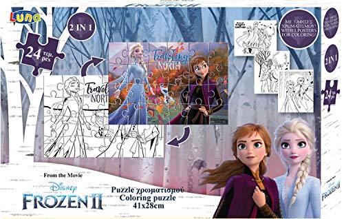 Luna Rompecabezas 2 en 1 Frozen II, 24 piezas, con imágenes para colorear, formato 41 x 28 cm