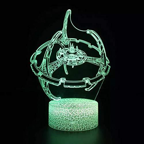 Tecnología linda nave espacial alienígena luz de visión 3D luz led multicolor decoración de base táctil luz de noche pequeña lámpara de mesa pequeña