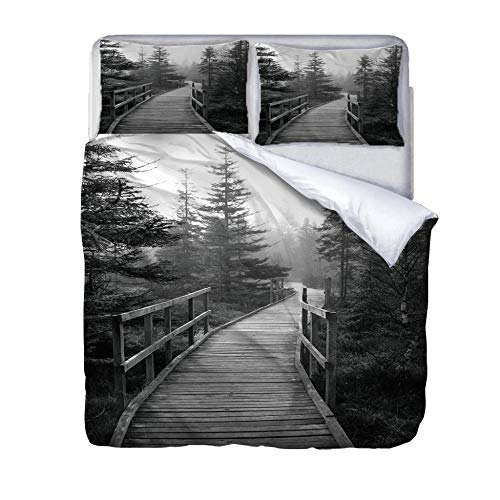Single duvet covers set Wooden bridge Quilt Cover Set with Zipper 100% Polyester with 2 Envelope Closure Pillowcases 50x75cm for Children adults woman 140x200cm