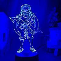 Tatapai 3DナイトライトイリュージョンLedデコレーションランプ新年ギフトUSBワンピースモンキーD.ルフィフィギュアキッズナイトライトLedバッテリー式タッチセンサーナイトライトホームデコレーション3Dランプルフィ