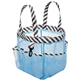 ARCCI Portable Mesh Tote Shower Caddy Quick Dry Bag Toiletry and Bath Organizer with 8 Storage Compartments for College Dorms, Gym, Swimming, Camping - Sky Blue