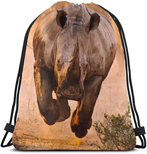 Corner Time Small Artificial Flowers French Bulldog Drawstring Backpack Gym Sack Cinch Bag String Bag Black African Rhinoceros Rhino Animal Wildlife