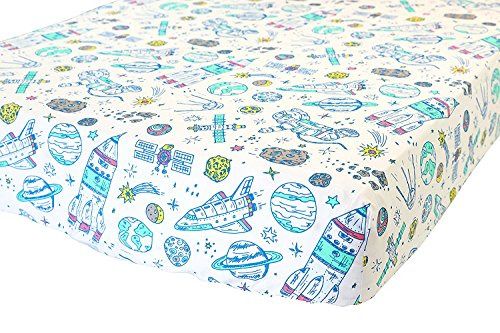 ADDISON BELLE 100% Organic Cotton Fitted Crib Sheet - Premium Baby Bedding - Soft, Breathable & Durable - Space Print