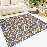 Tapiso Maya Alfombra de Salón Sala Comedor Diseño Moderno Naranja Gris Blanco Geométrico Mosaico Delgada 120 x 170 cm