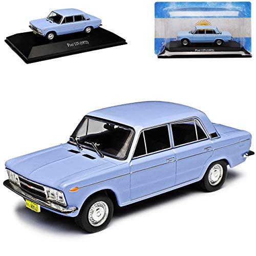 DeAgostini FIAT 125 Limousine Hell Blau 1967-1972 mit Sockel 1/43 Modell Auto mit individiuellem Wunschkennzeichen