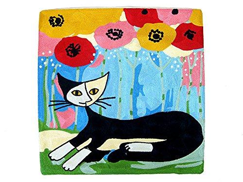 【クッションカバー】45cm×45cmトルコ アート刺繍 ねこ ロジーナ ウォッチマイスター シリーズ-1 (EC-026)