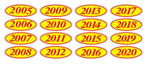 EZ-Line Oval Model Windshield Year Stickers for Car Windows Red and Yellow Large Vinyl Dealership Supplies 1 Dozen Pro Pack (2005)