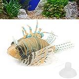 Ranvo Pez Falso Luminoso, pez de simulación Luminoso inofensivo Hecho artificialmente con Luces LED para pecera para decoración(Naranja Negro)