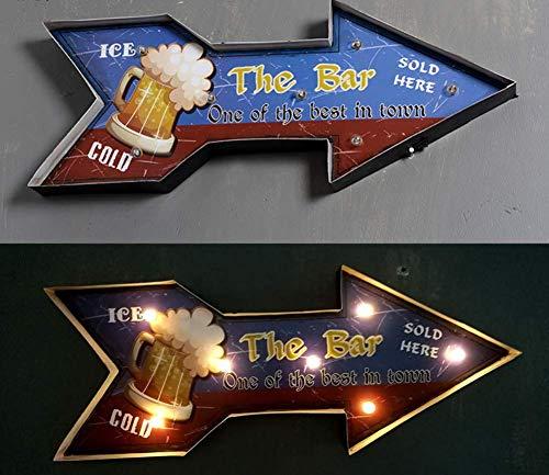 YDYL-LI Vintage Metall-Lampe Logo Pfeil Birne Nacht Glühbirne Licht-Box Zeichen Beleuchtung Flagge Kreative LED-Dekorative Vintage Wand