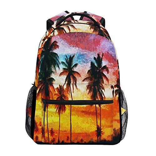Wamika Van Gogh Palm Trees Sunset Colorful Sky Oil Painting Sac à Dos étanche pour école, Gym, Sac à Dos Orange Bleu pour Ordinateur Portable Sac de Voyage pour Enfants garçons Filles Femmes Hommes