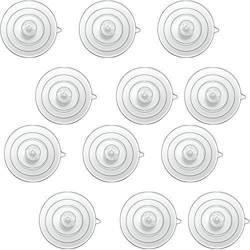 Window Garden Replacement Suction Cups - 12 Clear, Large Super Strong Window Suckers - Heavy Duty Suction Cups for Glass Surfaces - Veg Ledge Shelf, Suncatchers, Decorations, Bird Feeder, Windshield