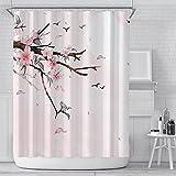 MNIAHGFQW DuschvorhangRosa Kirschblüte Pfirsichblüten Duschvorhang Weißer Hintergr& Mädchen Badezimmer Wasserdicht Polyester Tuch Display Mit Haken Set