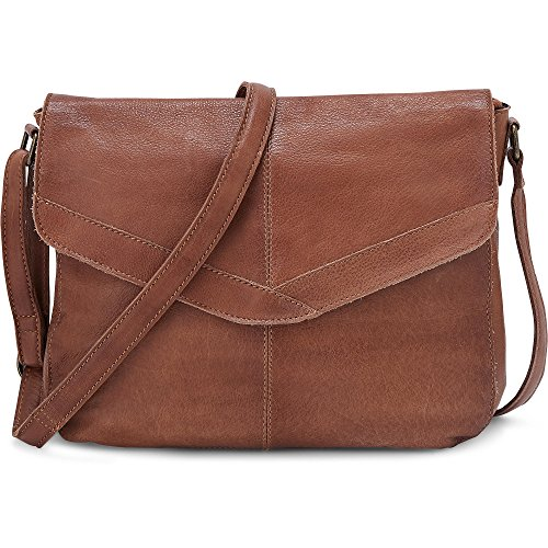Cox Damen Umhängetasche aus Leder, Schultertasche in Braun mit längenverstellbarem Schulterriemen Braun Leder 1
