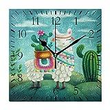 FETEAM Llama Linda con Cactus Alpaca Reloj de Pared Relojes de Cuarzo con Pilas Oficina en casa Cocina Escuela Fácil de Leer