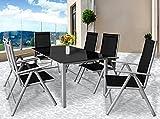 Deuba Sitzgruppe Bern 6+1 Aluminium 7-Fach verstellbare Hochlehner Stühle Tisch mit Sicherheitsglas Silber Garten Set - 4