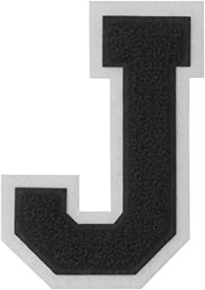 J - Black on White - 4 1/2 Inch Heat Seal/Sew On Chenille Varsity Letter