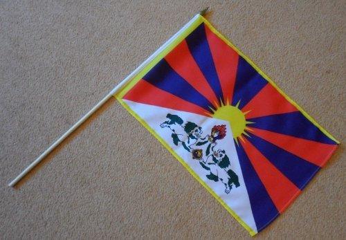 Tibet Grote Hand Vlag - Mouwen Polyester Vlag op 2 Voet Houten stok