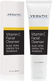 Vitamin C Facial Cleanser Infused with Aloe Vera, Green Tea and Sea Weed from YEOUTH - Soothing, Calming, Deep Penetrating...