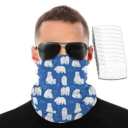 Blanco polar osos hombres mujeres deportes al aire libre a prueba de viento variedad transpirable toalla de cara