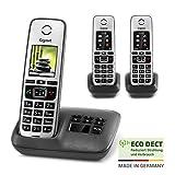 Gigaset Family Trio mit Anrufbeantworter - 3 schnurlose Telefone mit großem, farbigem Display und hoher Reichweite – anthrazit-grau