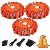 NOTENS Flashing Warning Lights, 3 Pack Rechargeable Car Safety Road Flares Flashing Beacons Emergency SOS LED Strobe with Magnetic Base, for Traffic accidents, Breakdowns, Road & Water Hazards