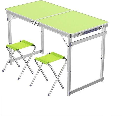 DONGY Table Pliante Portable à l'extérieur en Alliage d'aluminium Plier Table ménage Simple et Facile pli carré Tube Vert Table à Manger et Chaise pour extérieur Camping intérieur Bureau