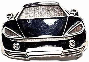 artigianale Hebilla para cinturón de 4 cm, para coche deportivo, esmalte negro, color plateado antiguo, hebillas de metal o piedras o brillantes o esmaltes o cristales muranos y 1 llavero de 1 CC