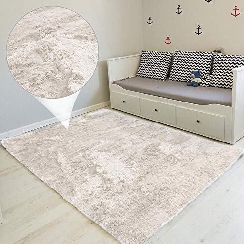 Hochflor Teppich wohnzimmerteppich Langflor - Teppiche für Wohnzimmer flauschig Shaggy Schlafzimmer Bettvorleger 160 x 230 cm Weiß