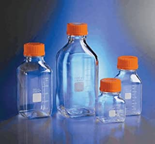 Corning 431432 Polycarbonate Square Media Storage Bottles with 45mm Screw Caps, 500ml Capacity (Case of 24)