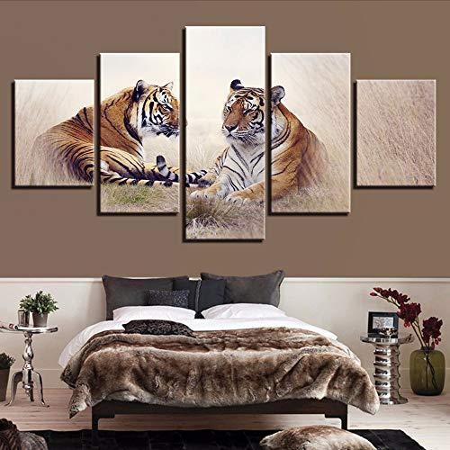 Cczxfcc kunst voor op de muur, foto's van canvas, modern dier, druk, 5 paar tijger, landschap, poster, decoratie, woonkamer, schilderen, modulaire lijst 20x35/45/55cm-contiene Telaio