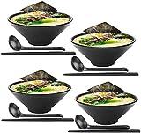 ZHFF Advanced Soup Bowls - Juego de 4 tazones de Ramen japoneses Grandes, Viene con Cuchara y Palillos, melamina de Calidad de Restaurante, para Fideos, Pho, Fideos, Udon, tailandeses, vajilla China