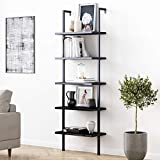Nathan James Theo 5-Shelf Black Modern Bookcase, Open Wall Mount Ladder Bookshelf with Industrial Metal Frame