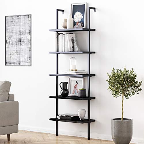Nathan James 5-Shelf Black Modern Bookcase