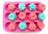 niceeshop(TM) 12 Cavity Flowers Silicone Non Stick Cake Bread Mold...