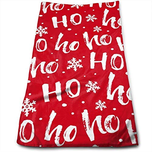 Funny Christmas Santa Claus Laugh Hohoho Hand Towel Xmas White Snowflakes Soft Bath Hand Towels Kitchen Multipurpose for Bathroom/Hotel/Gym/Spa (27.56 X 11.81 Inch,Red White)