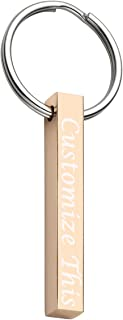 Personalized Custom Message Engrave Name Initial Vertical Cuboid Bar Keychain Stainless Steel Key Chain Clips Golden Silver Rose Gold Tone + Gift Box