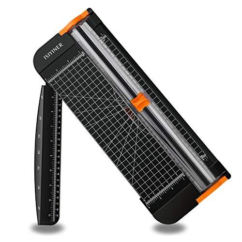 Cortador de papel A4 de titanio, herramienta para álbumes de recortes con protección automática de seguridad y regla lateral para etiquetas de papel, corte estándar de 12 pulgadas, color negro