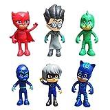 Masks-Figuras Masked Héroes en Pijama y Villanos Pack de 6 Figuras Cat Boy y Romeo Buhita y Ninja No...