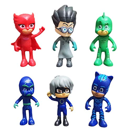 Masks-Figuras Masked Héroes en Pijama y Villanos Pack de 6 Figuras Cat Boy y Romeo Buhita y Ninja Nocturno Hombre Volador Hija De La Luna Cumpleaños, Navidad, Regalos Navideños