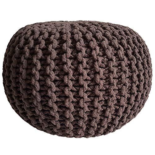 casamia Pouf - Sgabello in velluto lavorato a maglia, con cuscino da pavimento, in diversi tipi, colori e dimensioni Ø 45 cm, colore: cannella