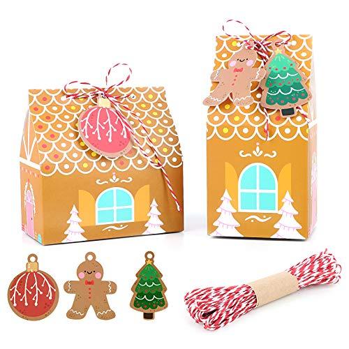 UFLF 24pcs Cajas Regalos Navidad Cajas Galletas Papel Bolsas Calendarios Adviento+30pcs Etiquetas para Caramelos Dulces Fiesta Eventos Navidad con Cordón