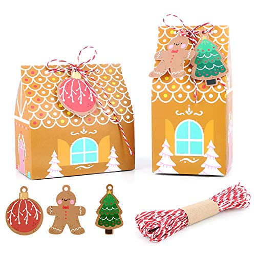 UFLF 24 Stück Weihnachten Geschenkbox Süßigkeiten Box Hausform Geschenktüten Kraftpapier Geschenkverpackung Geschenkschachtel Partytüten Papiertüten mit Geschenkanhänger und Schnur