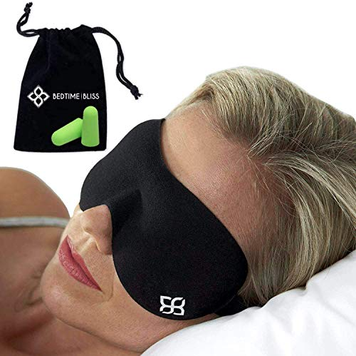 Eye Mask for Sleeping | Sleep Mask Men/Women Better Than Silk Our Luxury Blackout Contoured Eye Masks are Comfortable - This Sleeping mask Set Includes Carry Pouch and Ear Plugs