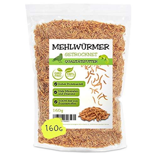 EWL Naturprodukte Mehlwürmer getrocknet 1ltr, der ideale gesunde proteinreiche Premium Insektensnack für Vögel, Fische, Schildkröten, Nager und Reptilien
