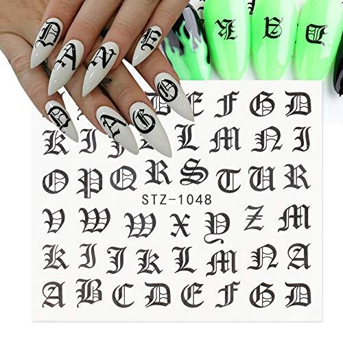 BLOUR Calcomanías con Letras ABC, Pegatinas para decoración de uñas, Fuente Antigua en inglés, número Negro, Tatuaje, diseño de uñas, Deslizadores de Agua, envolturas de manicura, CHSTZ1046-1049