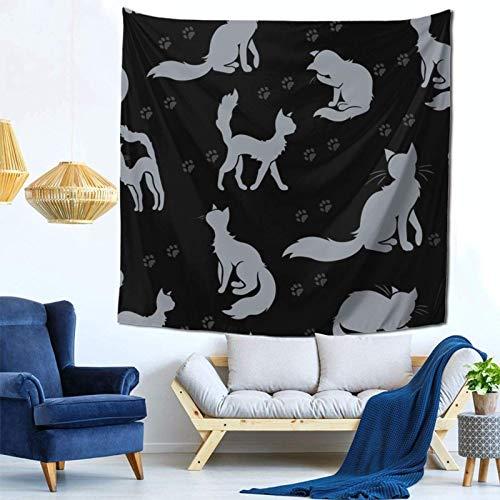 Lsjuee Tapiz de Gato y Huella para Colgar en la Pared, decoración del hogar, Arte de Abanico para Dormitorio, Sala de Estar, Dormitorio, 59 x 59 Pulgadas
